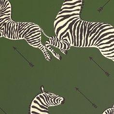 Scalamandre - Zebras Serengeti Green Wallpaper | $131.75 per roll