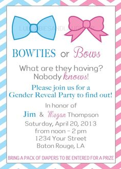 Bowties or Bows Gender Reveal Party