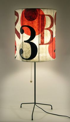 Lamp Shade / Red Graphics Lampshade / Numbers Letters Circles and Shapes / Organic / Paper
