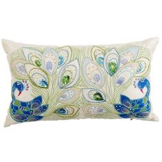 """Description of this """"Mirrored Peacock Pillow"""" made me laugh:  """"Two peacocks meet and challenge each other to a dazzle-off. It's a scene filled with sequins, beads, embroidery and even shimmering mirror insets."""""""