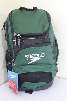 Speedo Teamster Backpack Hunter Green Black 7520116 Fast Ship for sale online Volleyball Bags, Swimming Gear, Walk In Wardrobe, Laptop Sleeves, Walking, Aesthetics, Backpacks, Purses, Best Deals