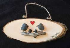 A Loving Family of Birds Pebble Art