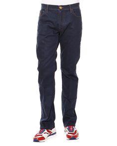 Contrast-Stitch Straight Denim Jeans, Dark Brown Gold, Men's, Size: 38 - Stefano Ricci