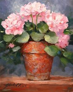 """Daily Paintworks - """"Geraniums in a Clay Pot"""" - Original Fine Art for Sale - © Justin Clements"""