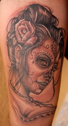 day of the dead skull lady tattoo by Big Gus of Hesperia, CA