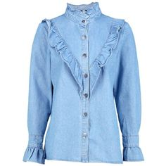 Boohoo Emily Frill Detail Denim Shirt ($38) ❤ liked on Polyvore featuring tops, off shoulder denim top, denim crop top, off-the-shoulder ruffle tops, blue off the shoulder top and jersey crop top