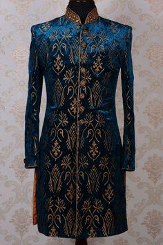 Ink blue & gold pure velvet magnetic indo western sherwani-IW449