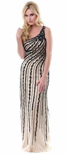 Decadent Formal Nude/Black Dress Long Detailed Beading One Shoulder $349.99