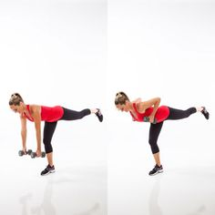 One of the quickest total-body moves: 20 reps on each side of the balancing deadlift row.