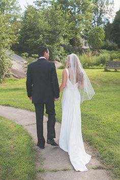 bride and groom - love the bride's J Crew silk gown and light, airy veil