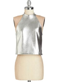 Shine Times Out of Ten Top - Short, Woven, Silver, Solid, Party, Girls Night Out, Holiday Party, Vintage Inspired, 90s, Sci-fi, Sleeveless, Halter, Silver, Sleeveless