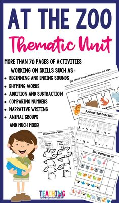 This thematic zoo unit is a perfect resource to supplement an animal unit or when your class is preparing for a trip to the zoo. This unit contains a ton of zoo activities that support the common core standards for kindergarten. The following printable pages are included in this product: **Word Wall Cards **Sorting Animal Headings ***Rhymes on a Vine  **Dot the Beginning Sound **Zoo Patterns **Making New Words **Animal Addition and Subtraction and much more!!