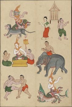 Eclectic historic science and art images from rare books and prints Traditional Paintings, Traditional Art, Thai Alphabet, Indian Roller, Thai Design, Elephant Illustration, Year Of The Monkey, Indian Folk Art, Thai Art