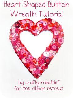 Heart Shaped Button Wreath Tutorial - {The Ribbon Retreat Blog}