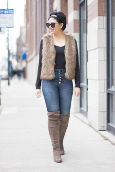 RD's Obsessions: Faux Fur Vest + Giveaway || button front high waisted skinny jeans, affordable faux fur vest, over the knee boots, affordable over the knee boots, heattech long sleeve top, target giveaway