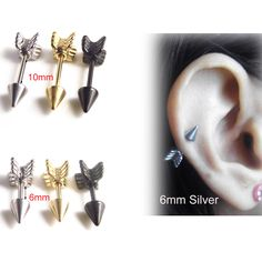 1 Piece Gold Silver Black 316l Stainless Steel Tragus Ear Lovely Surgical Arrow Shape Nipple Ring Ear Helix Piercing Jewelry