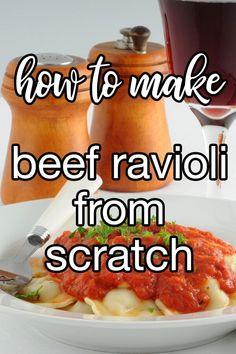 Beef Ravioli Filling Recipe, Homemade Beef Ravioli Recipe, Homemade Ravioli Filling, Homemade Pasta, Homemade Marinara, Real Food Recipes, Cooking Recipes, Yummy Food, Pasta Dinners