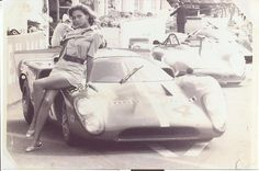 1970 24H of Le Mans. Louise Edlind, sitting on a Lola T70, during the shoot of Lee H. Katzin's film, Le Mans (feat. Steve McQueen).