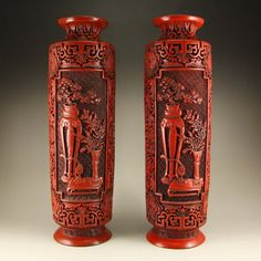 A Pair Chinese Qing Dynasty Lacquerware Vase