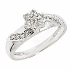 Round Cut Diamond Ladies' Engagement Ring 14K White Gold Women's Engagement Ring
