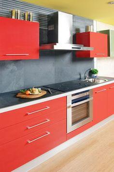 mi cocina roja con piso negro o blanco Pinterest Kitchens Red