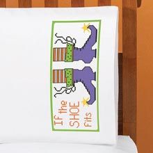 Herrschners®  If the Shoe Fits Pillowcase Pair Stamped Cross-Stitch