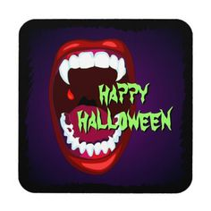 Horror Show Vampire Mouth Sharp White Fangs Drink Coaster