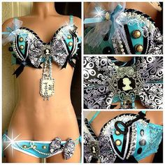Alice in Wonderland Rave Bra and Bottom Costume 4 by lipglosswear, $125.00