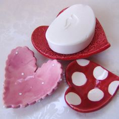whimsical ceramic hearts  set of 3 dishes for soap by maryjudy, $18.00