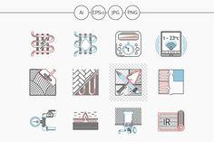 Underfloor heating vector line icons by YershovOleksandr on @creativemarket