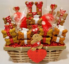 Valentines day dog biscuit treat gift basket by PetibleCreations, $42.00