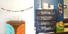 dressers. Upcycled Furniture, Home Decor Furniture, Cool Furniture, Furniture Ideas, Chalkboard Dresser, Chalkboard Paint, Kids Dressers, Colorful Furniture, Colors
