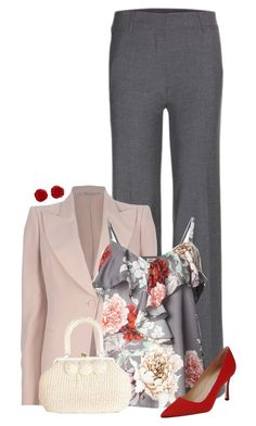 """L'Agence Floral Ruffled Tank"" by chrissykp ❤ liked on Polyvore featuring Etro, Alexander McQueen, L'Agence, Manolo Blahnik, Brooks Brothers, WorkWear and floralprint"