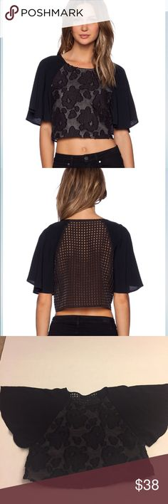 NWT NBD black lace crop top Poly blend Hand wash cold Mesh burn-out fabric, Brand is NBD but purchased from Nasty Gal. True to size. Ships same or next day, price firm. Nasty Gal Tops Crop Tops