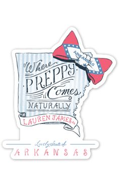 Arkansas is where preppy comes naturally! - Constructed of durable vinyl with added UV laminate that protects your sticker from scratching, rain, and sunlight! - Dimensions 4 x 4 in. - MADE IN USA