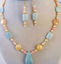20% OFF SALE, Amazonite Pendant Necklace & Earrings Set, Aqua Yellow Peach, Pearls, Coral, Crystals, Gold Filled, Ready To Gift Box 4 MOM