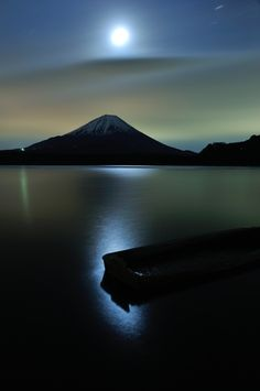 Moonlight on Mt. Fuji, Shojiko lake, Japan.