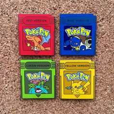 Pokemon Red, Blue, Yellow and Green Version Hat Pins