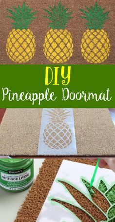 What a fun summer decoration! DIY Pineapple Doormat was so easy with a DIY stencil and Americana Decor Outdoor Living! #decoartprojects