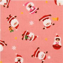 pink Cosmo Christmas fabric Santa Claus matryoshka - Christmas Fabric - Fabric