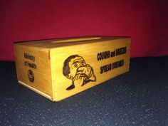 """""""Coughs and sneezes spread diseases""""  - retro wooden tissue box"""