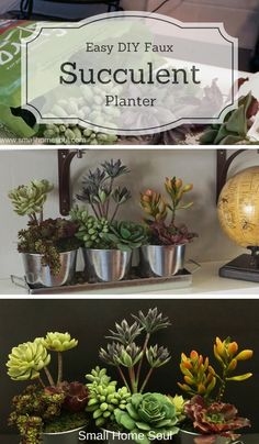 This faux succulent planter is so beautiful in galvanized pots and is an easy DIY project for home or garden.