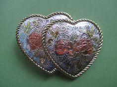 Buckle, Double Hearts, Vintage, Engraved, Silver toned, Gold-tone, Valentine, Rose Colored, Sweetheart Buckle, Western Rodeo Cowgirl