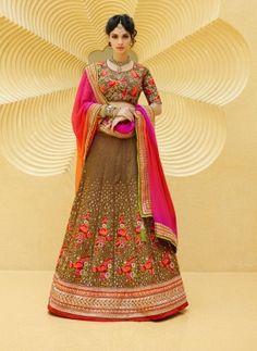 Brown traditional Indian Rajasthani ghagra choli in art silk