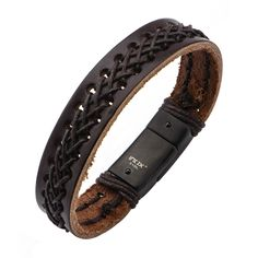 Men's Dark Brown Leather Bracelet with Black Stitch Leather and Steel Clasp. Featuring the polished metal accents and the intricate braid of leather cohesively come together to project the ultimate ma