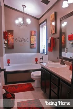 Merveilleux Cheap Bathroom Update Idea  Stain Vanity, Frame Mirror, Change Out Faucets.  Frame The Outside Of The Tub And Add Red Accents. Dark Trim Around The  Ceiling ...