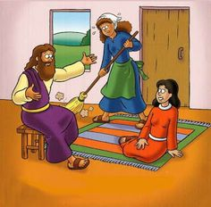 Mooie platen bij het verhaal van Martha en Maria /  VISUAIS COLORIDOS DA VISITA DE JESUS À MARIA E MARTA