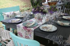 Vintage Wedding Table Setting  #vintage #purple #wedding #flowers #tablenumber #hydrangeas #roses #tablerunner #chairs #benches
