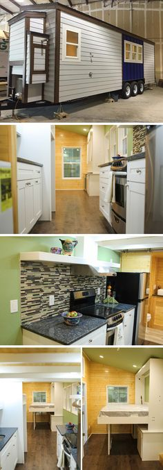 A 28' custom tiny house with an outdoor shower. Inside is a full kitchen with electric range and granite countertops, storage stairs lead to a bedroom loft, and the living room has a murphy bed.