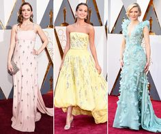 See the stars who got spring-happy at the 2016 Oscar Awards with pretty pastel gowns. Oscar Fashion, Runway Fashion, Pastel Gown, Pastel Wedding Invitations, 2016 Fashion Trends, Bridesmaid Dresses, Prom Dresses, Oscar Dresses, Renaissance Fashion